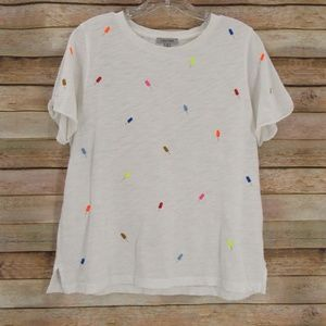 Lisa Todd Embroidered Popsicle Crew Neck Tee M